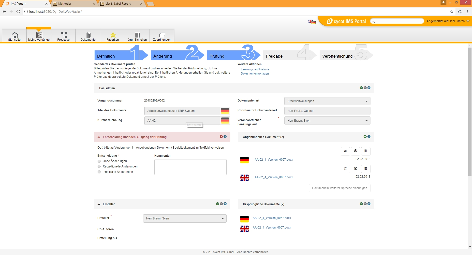 Workflow in einem Dokumentenmanagementsystem